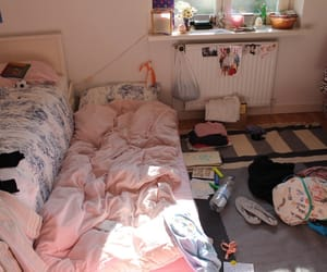 pink, room, and bed image