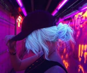 girl, neon, and hair image