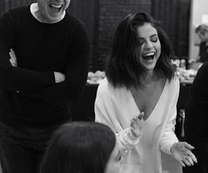 selena gomez, smile, and black and white image