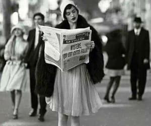 girl, newspaper, and read image
