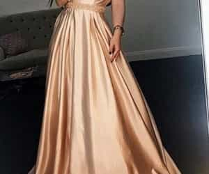 dress, off the shoulder, and Prom image