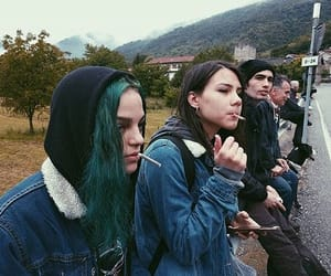 green hair, smoke, and mointain image