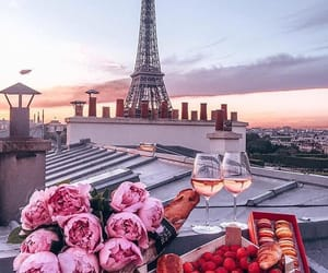 flowers, paris, and sunset image