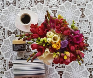 coffee, colorful, and flowers image