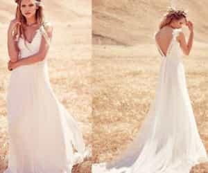 country wedding, wedding dress, and bridal dress image