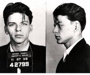 frank sinatra, mugshot, and black and white image