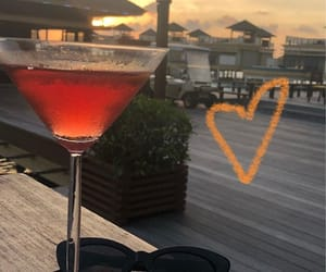 drink, red, and sunset image