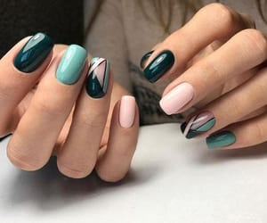nails, green, and pink image