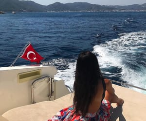 turkish flag and yacht girl image