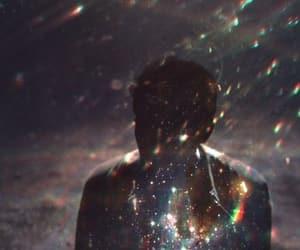 boy, lights, and rainbow image
