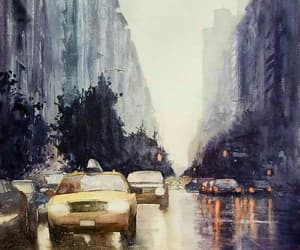 art, city, and rain image