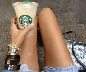 starbucks, legs, and coffee image