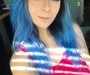 blue hair, emo, and hairstyle image