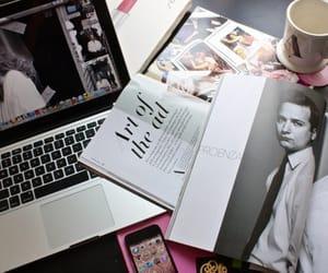 magazine, coffee, and laptop image