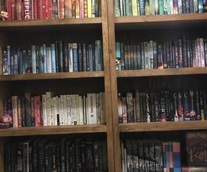 books, rainbow, and bookshelf image