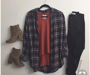 black jeans, flannel, and boots image