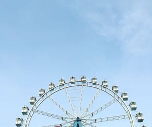blue, sky, and ferris wheel image