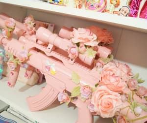 pink, gun, and flowers image