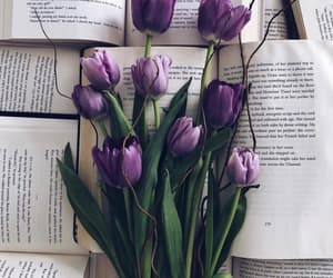 flowers, purple, and books image
