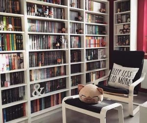 book, bookshelf, and read image