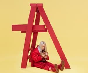 billie eilish, red, and dont smile at me image