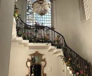 flowers, house, and stairs image