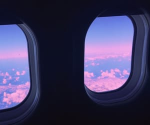airplane, pink, and sky image