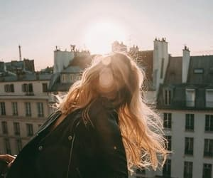 girl, sun, and city image