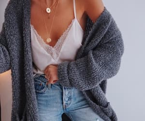 cardigan, denim, and fashion image