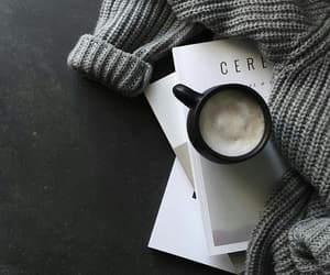 coffee, sweater, and book image