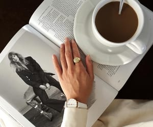 book, coffee, and ring image