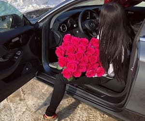 car, flowers, and girl image