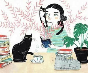 book, cats, and tea image