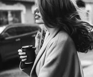 black and white, coffee, and hair image