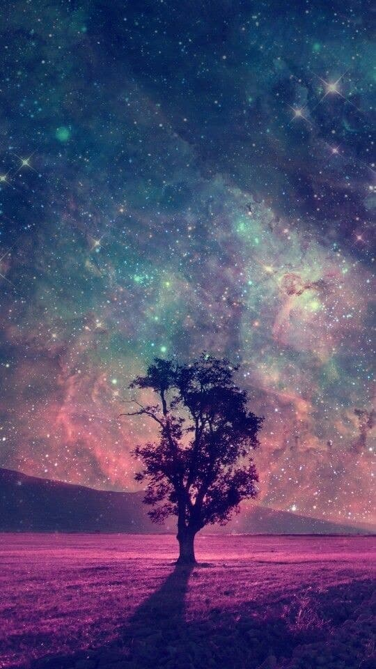galaxy, tree, and wallpaper image