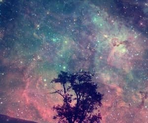 galaxy, tree, and wallpaper image