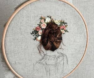 art, embroidery, and flowers image