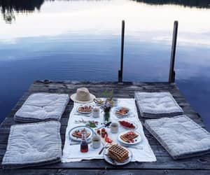 food, breakfast, and lake image