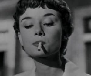 audrey hepburn, cigarette, and smoking image