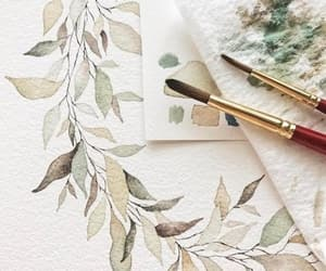 drawing, leaves, and art image