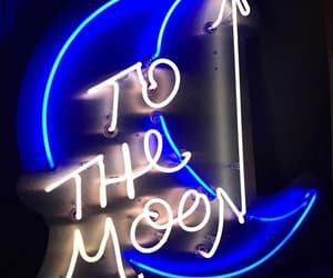 blue, moon, and neon image