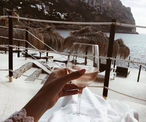 beach, vacation, and wine image