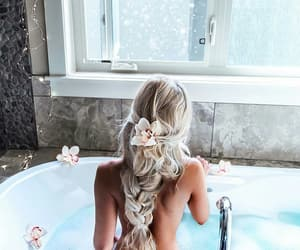 girl, hair, and bath image