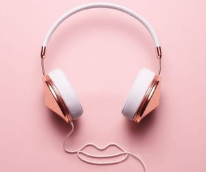 headphones, aesthetic, and pink image