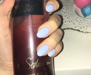 blue nails, body spray, and classy image