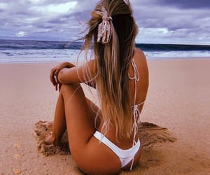 beach, hair, and swimsuit image