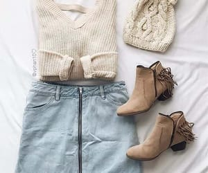 outfit, skirt, and sweater image