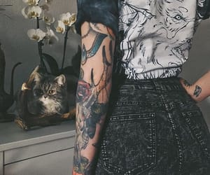 tattoo, cat, and style image