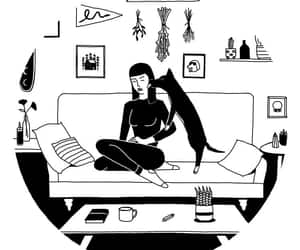 apartment, girl, and illustration image
