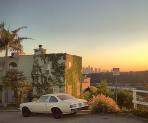 car, sunset, and city image